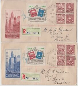 Stamps-ANPEX-Adelaide-exhibition-1950-Cinderella-labels-pair-covers-registered