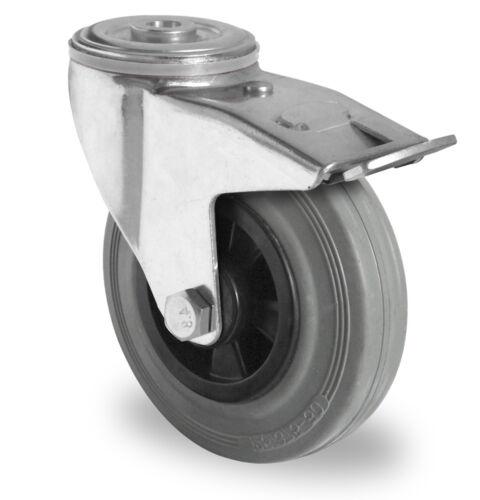 Transporte papel lenkrolle 125mm stop//Lenk goma-gris