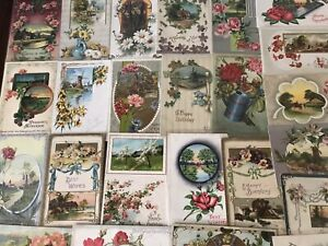 Lot-of-25-Pretty-Flowers-amp-Scenes-Vintage-Floral-Greetings-Postcards-a531