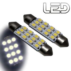 2-Ampoules-navette-c10w-41-mm-41mm-12-LED-Blanc-Habitacle-Plafonnier-coffre
