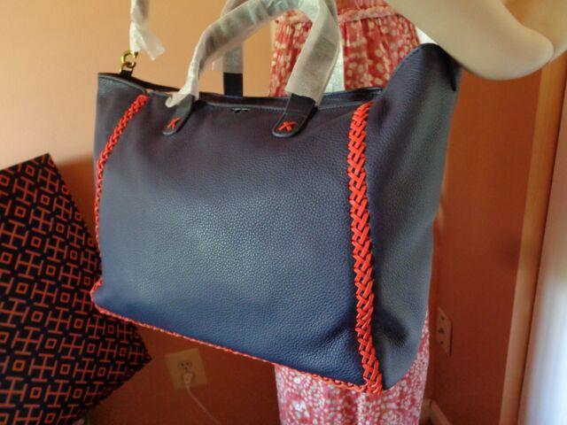 8ff77f6b825 60 off Tory Burch Medium Leather Whipstitch Tote Handbag Navy Blue ...