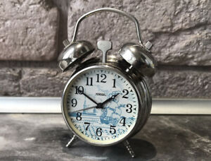 Vintage-Mini-Alarm-Clock-RAKETA-USSR-Blue-Ship-Rare-Collectible-SERVICED