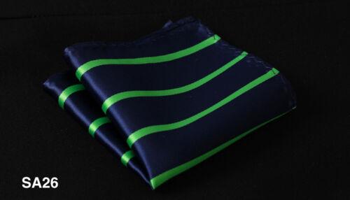 SA Stripe Men Silk Satin Pocket Square Hanky Wedding Party Handkerchief