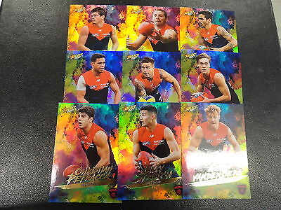 2017 AFL FOOTY STARS RAINBOW HOLOFOIL TEAM SET OF 9 CARDS MELBOURNE