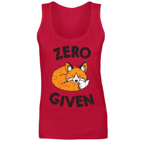 Womens Zero Fox Given Funny Novelty Animal Slogan Vest Tank Top NEW UK 8-18
