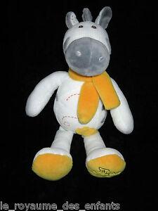 Doudou-pantin-Zebre-Ane-Cheval-blanc-et-gris-echarpe-jaune-Histoire-d-039-Ours-35-cm