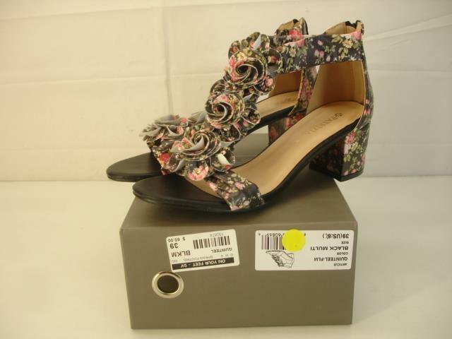 Women's 8.5 39 Patrizia by Spring Step Quinteel FLM Black Floral Sandals T-Strap