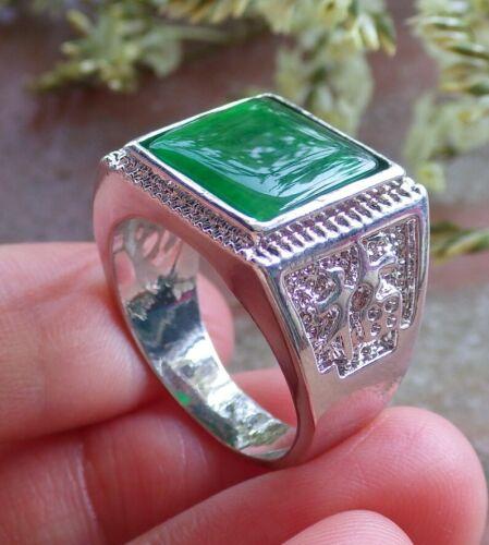 9 10.5# 323424 Placa De Oro Blanco Verde Jade Fu Lucky Rectángulo Anillo 8.25 10.25