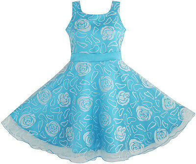 Flower Girl Dress Blue Rose Wedding Pageant Kids Boutique Size 4-12