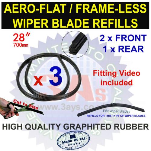 """Aero flat frame moins bosch type de balai d/'essuie-glace recharges 28/"""" couper à la taille 3 pcs"""