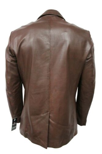 Men/'s Brown Classic Italian Style Slim Jim Blazer Real Napa Leather Jacket Coat