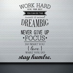 Details about Wall Decals Work Hard Dream Big Quotes Wall Stickers For  Office/Study Room
