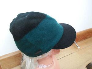 cd024048e93 SEEBERGER 100% PURE NEW WOOL GREEN BLACK PEAKED CAP BAKER BOY HAT ...