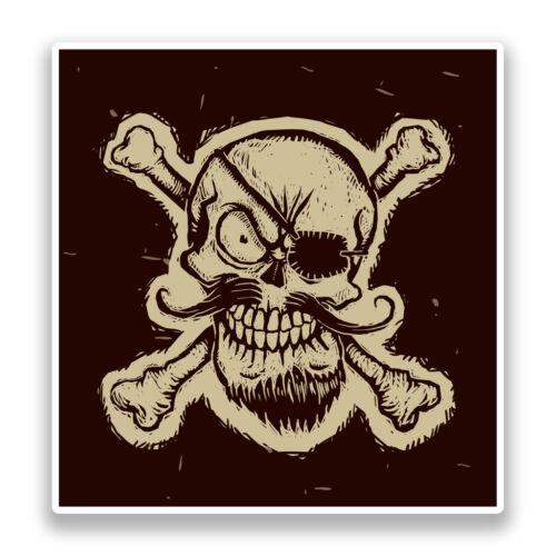 2 x Destressed Pirate Skull and Cross Bones Vinyl Stickers Scary #7163