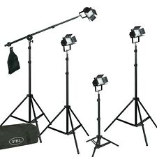 LED Photo Studio Video 4 Light Kit Boom Barndoors All Metal Body Steve Kaeser
