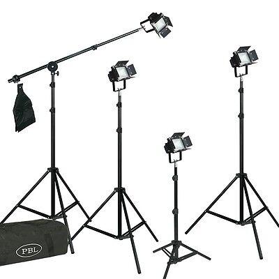 LED Photography Lighing Kit Barndoors Boom Sandbag Velcro Photo Clamps 4 Lights