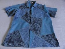 Parang Kencana Thai Silk Shirt Men's L Blue All Silk Thailand