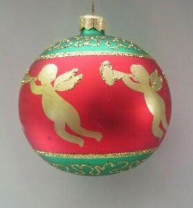 Large 4 Poland Gold Cherub Angel Ball Xmas Ornament Red Green Gold Glitter Ebay