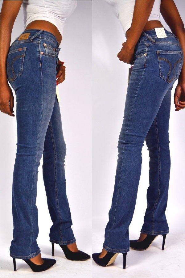 ATT Jeans STELLA Straight Rain Blau Mittelblau Gerades Bein Konfektion W34 L34
