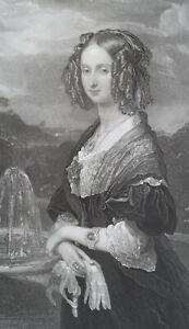 LOUISE-D-039-ORLEANS-Queen-of-Belgium-Portrait-1840s-Antique-Print