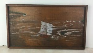 Rustic Folk Art Wood Decor Sailboat Unknown Artist 23x13 Nautical Vintage Paint