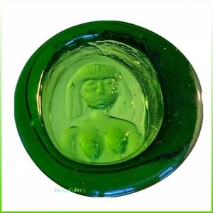 BODA-Sweden-KOSTA-BODA-Erik-Hoglund-Green-Ashtray-Paperweight-COLLECTABLE