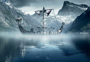 30x20 36x24 Silk Poster Viking Longboat in the Cold North ...