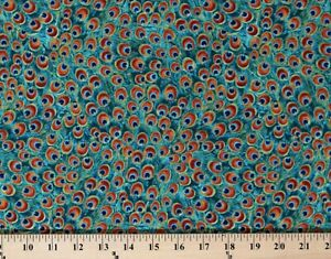 Cotton Peacocks Feathers Plumes Cotton Fabric Print by the Yard D370.48