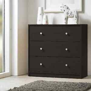 3 Drawer Chest Dresser Three Drawers Espresso Finish Wooden Bedroom