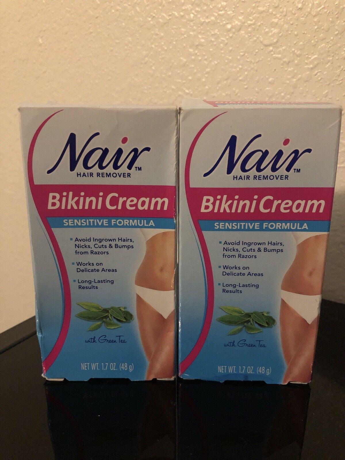 2 Nair Sensitive Formula Bikini Cream Hair Remover With Green Tea