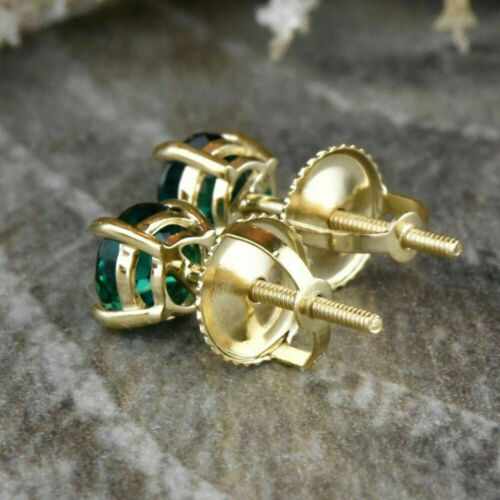 Details about  /2 Ct Round Cut Emerald Solitaire Stud Earrings 14K Yellow Gold Over Screw Back