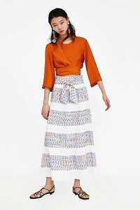 Ecru Long Zara Sz Skirt S Jacquard Nuovo qtrwrd