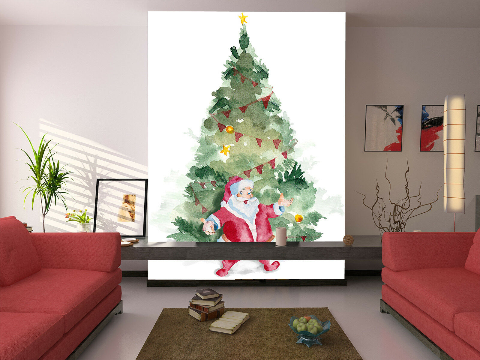 3D Santa Claus Tree 78 Wall Paper Murals Wall Print Wall Wallpaper Mural AU Kyra