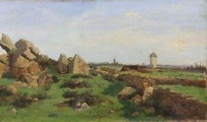 Ol-auf-Leinwand-Signatur-Presqu-039-Ile-Guerande-Menhire-Bretagne-Loire