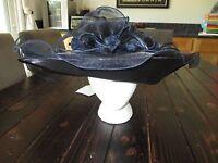 Ashro Blue Sheer Hat Church Wedding With Flowers, Feathers Ruffles