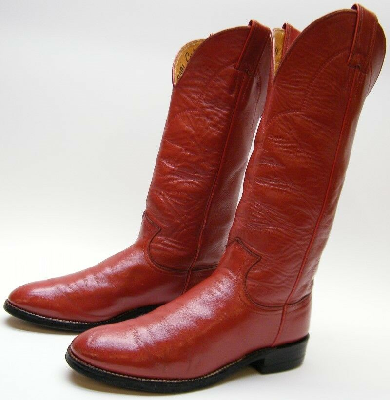 WOMENS JUSTIN 0751 TALL RED ROPER LEATHER COWBOY WESTERN BOOTS SZ 6.5~1/2 AA