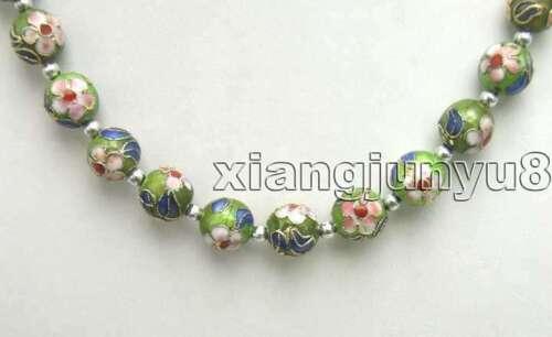"""12 mm Rond Vert Cloisonne Perles fleurs blanches 20/"""" les colliers collier pour femmes 5382"""