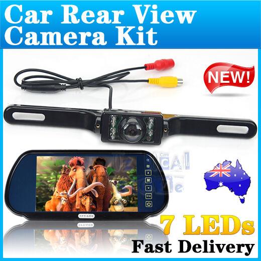 "Car Rear View Kit 7"" LCD Mirror Monitor + Night Version Reversing Backup Camera"