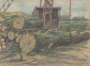 Henry E. Foster (1921-2010) - 1960 Pastel, Timber Mill, Caton