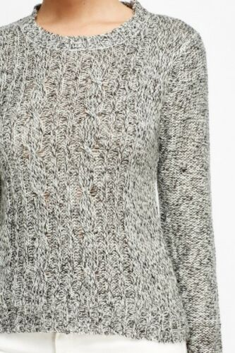 Womens Cable Knit Front Dip Hem Jumper Sweater