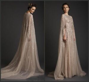 Long-Sequin-Wedding-Cloaks-Capes-Tulle-Bridal-Formal-Jacket-Wraps-Custom-Made