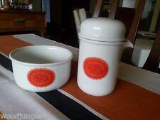 THOMAS ROSENTHAL GERMANY ORANGE RED COFFEE CREAMER SUGAR BOWL MID CENTURY MODERN