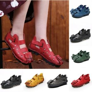 261946505 Retro Womens Summer Roma Retro Leather Bottom Flat Shoes Ethnicuk2 ...