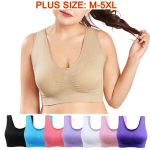 NEW Seamless Fitness Yoga Sport Bra Women Padded Crop Top Vest Stretch Plus Size
