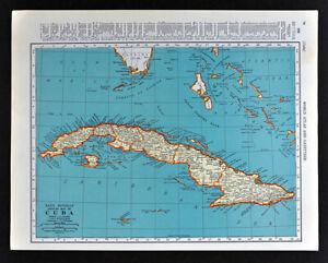Details about 1938 McNally Map Cuba Havana West Indies Caribbean Puerto  Rico Jamaica Bahamas