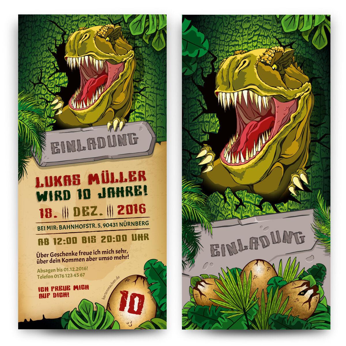 Einladungskarten Kindergeburtstag T-rex Tyrannosaurus Dinosaurier Dino Einladung |   | Exquisite (mittlere) Verarbeitung