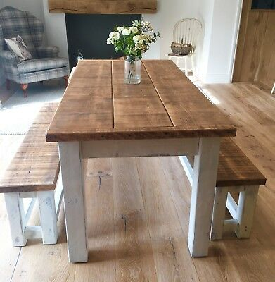 Rustic Farmhouse Table Bench Set Distressed White 182cm Long Made To Order Ebay