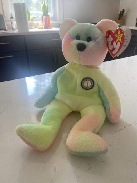 Ty Beanie Baby - B. B. BEAR (Birthday Bear) Rare in MINT condition with tags