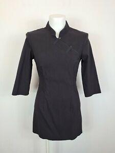 VINTAGE Cue Black Long Sleeve Dress Women's Size 8 AU Made Side Button High Neck