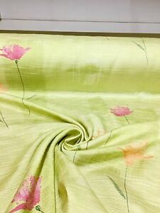 BEAUTIFUL APPLE GREEN FLORAL SUMMER PRINT CURTAIN FABRIC 6 METRES - manchester, United Kingdom - BEAUTIFUL APPLE GREEN FLORAL SUMMER PRINT CURTAIN FABRIC 6 METRES - manchester, United Kingdom